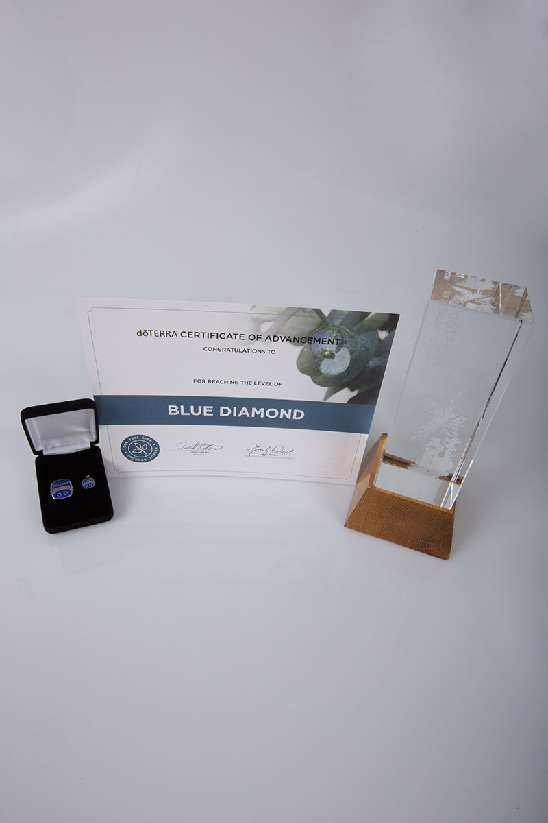 image of the doterra blue diamond certificate