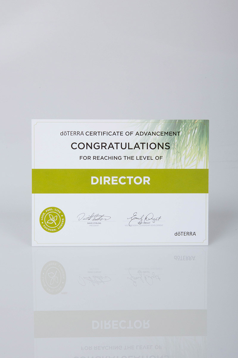 image of the doterra director certificate