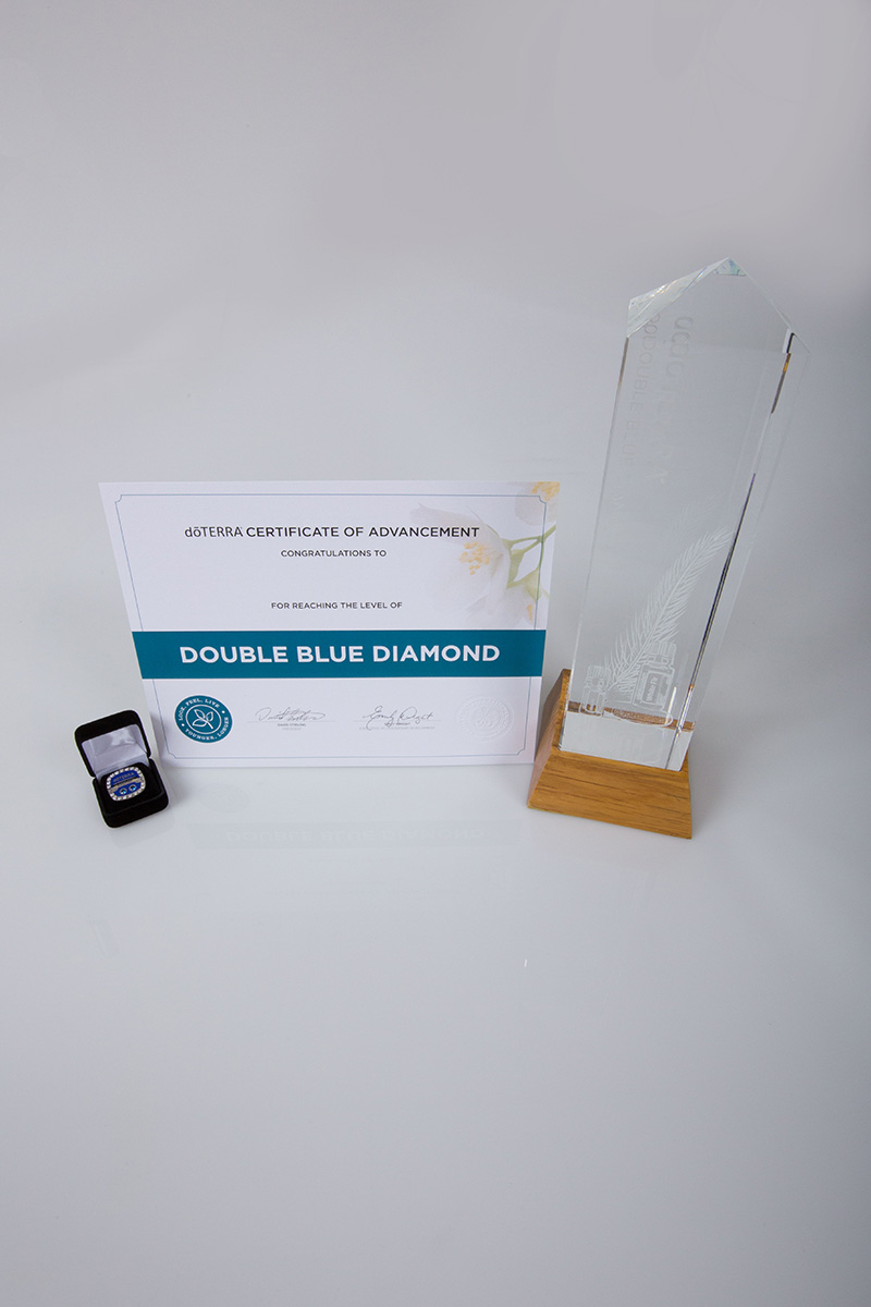 image of the doterra double blue diamond certificate