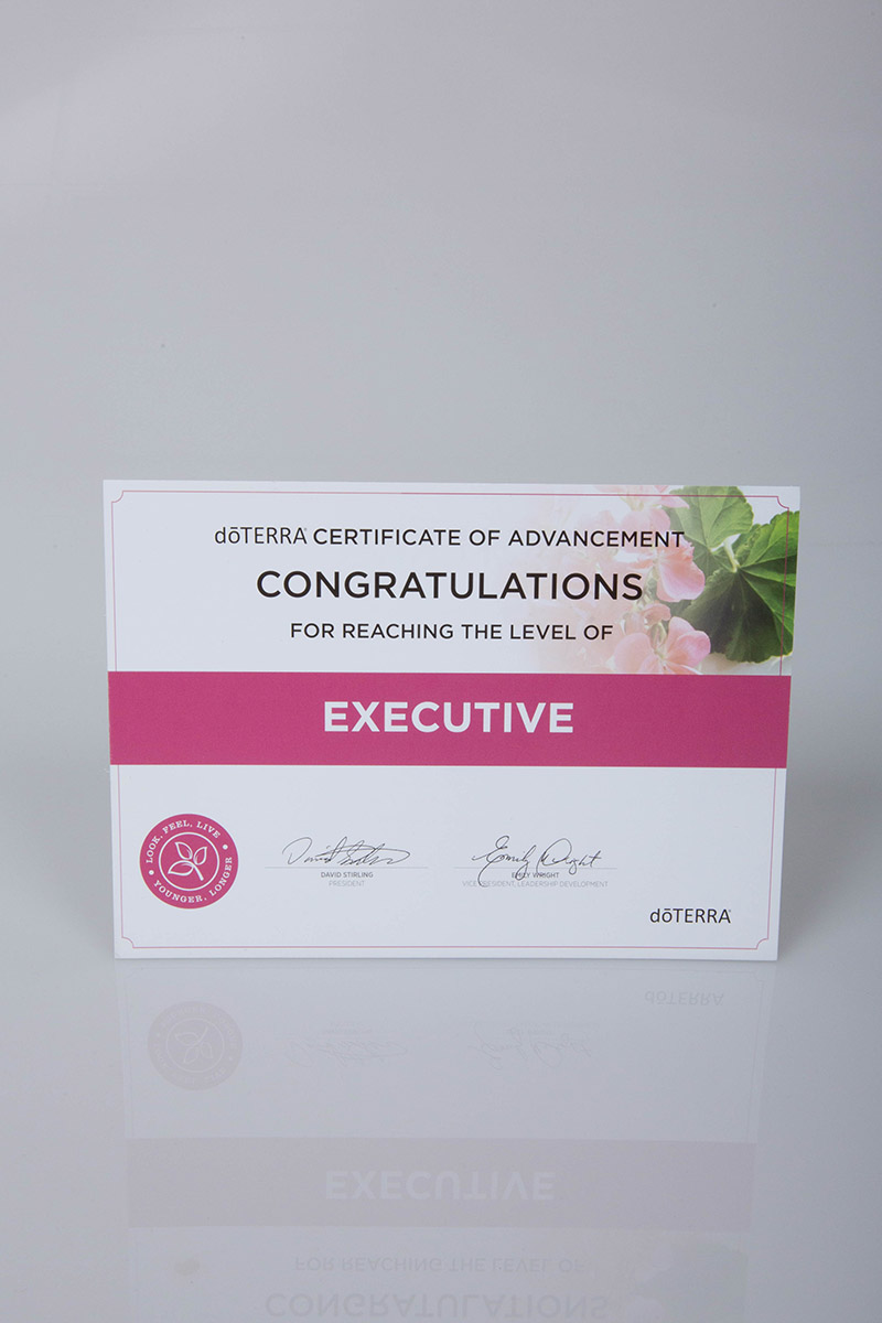 image of the doterra executive certificate