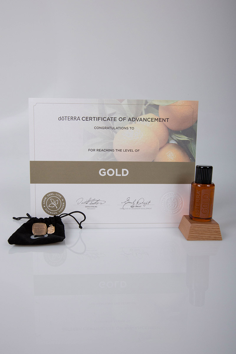 image of the doterra gold certificate