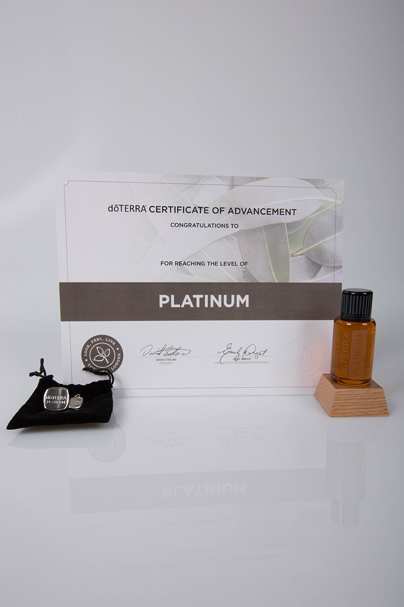 image of the doterra platinum certificate