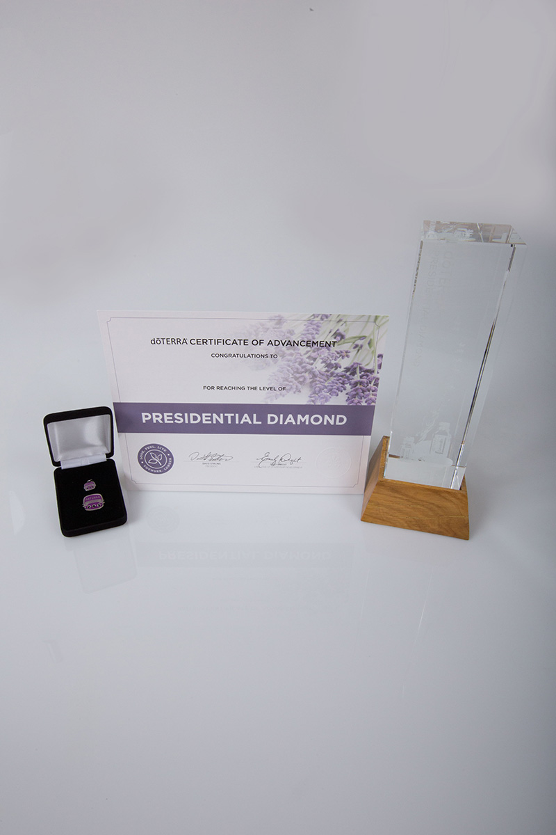 image of the doterra presidential diamond certificate